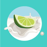 Lime in cream milk splash flat design Royalty Free Stock Photo