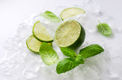 Lime with cubes of ice and mint Royalty Free Stock Photos