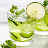 Lime, cucumber, parsley cocktail, detox water Stock Photography