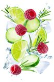 Lime, cucumber, rosemary and raspberry flying with ices and water splash isolated stock photo