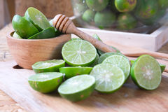 Lime on a cutting board prepare for lime juice Stock Image