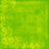 Lime distressed background. Lime green distressed background with flourishes and flowers Royalty Free Stock Photo