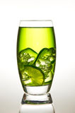 Lime drink with ice. Glass of lime with ice Royalty Free Stock Images
