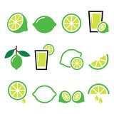 Lime - food icons set Royalty Free Stock Images