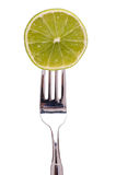 Lime on a fork Royalty Free Stock Photography