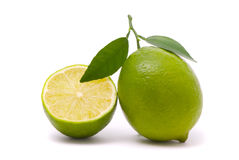 Lime with fresh leaves Stock Photos