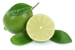 Lime fresh organic fruits isolated on white Royalty Free Stock Image