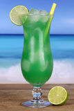 Lime fruit cocktail on the beach Royalty Free Stock Images