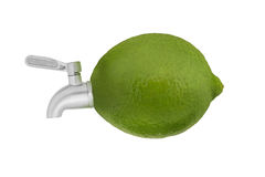 Lime fruit with a faucet. Stock Image