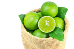 Lime fruit pack in sack bag Royalty Free Stock Photo