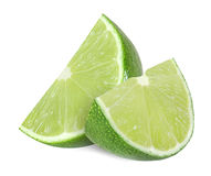 Lime fruit slices  on a white background. With clipping path Royalty Free Stock Photography
