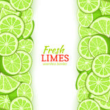 Lime fruit vertical seamless border. Vector illustration card top and bottom Fresh tropicat green lemon whole and slice. For design tea, ice cream, natural royalty free illustration