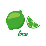 Lime fruits poster in cartoon style depicting whole and half of fresh juicy citruses  on white background Royalty Free Stock Image