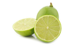 Lime fruits in a wooden crate Royalty Free Stock Images