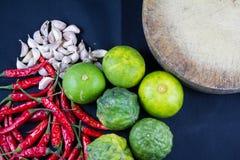 Lime,garlic,chili,kaffir with kitchen tool Stock Image