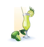 Lime  in goblet of juice, cocktail, smoothie Stock Photos