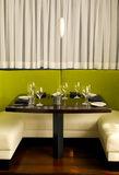 Lime green booth. At a restaurant Royalty Free Stock Photos