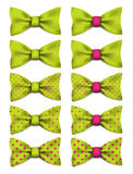 Lime green bow tie with pink dots set realistic vector illustration. Isolated on white background Stock Image