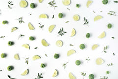 Lime and green branches pattern on white background stock photo