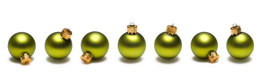 Lime Green Christmas Balls Border Stock Photos