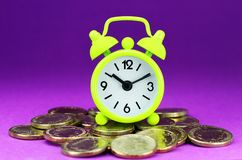 Lime Green Clock Coinage Royalty Free Stock Photography