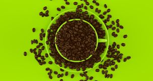 Lime Green Coffee Cup an Saucer Full Of Coffee Beans. 3d illustration royalty free stock images