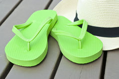 Lime Green Flip Flops Stock Photography