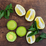 Lime green macarons with lemon and mint Stock Images