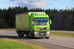 Lime Green MAN Semi Trucking Stock Image