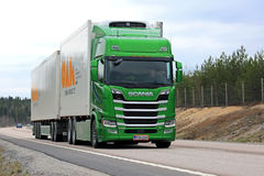 Lime Green Next Generation Scania R580 for Temperature Controlled Transport stock photo