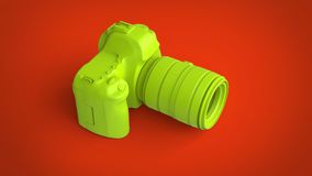 Lime green photo camera on fiery background. Lime green photo camera on fiery red background Stock Images