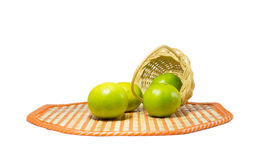 Lime green put in the basket white background Royalty Free Stock Photography
