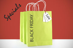 Lime Green Shopping Bags on Red White Background. stock photo