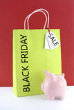Lime Green Shopping Bags on Red White Background. Stock Photography