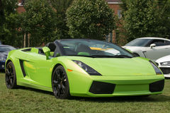 Lime Green Sports Car Right Side Stock Photos