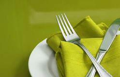 Lime Green Table Setting Royalty Free Stock Photos