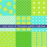 Lime green and turquoise pattern collection. Vector texture, print,paper vector illustration
