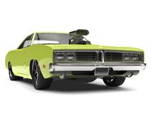 Lime green vintage American muscle car - closeup shot Royalty Free Stock Photography