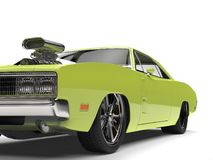 Lime green vintage American muscle car - front wheel closeup cut shot Royalty Free Stock Photography