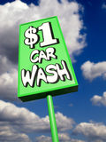 Lime green vintage car wash sign Royalty Free Stock Photo