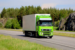 Lime Green Volvo FH Refrigerated Transport Truck at Summer stock images