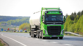 Lime Green Volvo FH Tank Truck on Freeway Stock Photography