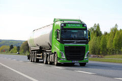 Lime Green Volvo Semi Tank Truck on Motorway at Spring Royalty Free Stock Images