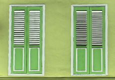 Lime Green window shutter doors Stock Image