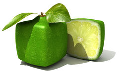 Lime and a half. 3D rendering of a cubic lime and a half Royalty Free Stock Images