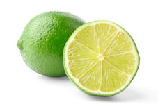 Lime and half. Isolated on white background stock photography