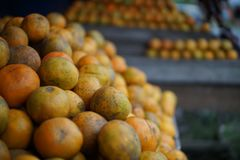 Lime orange at stall, Medan Indonesia. A lime is a hybrid citrus fruit, which is typically round, lime green, 3–6 centimetres (1.2–2.4 in) in Royalty Free Stock Photos