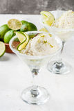 Lime ice cream, sorbet. Homemade salted lemon lime ice cream sherbet. Margarita ice cream. With lime and zest, in glasses with salt decor and snack of lime slice stock photos