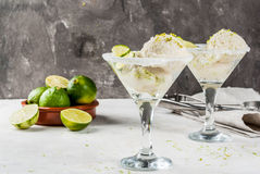 Lime ice cream, sorbet. Homemade salted lemon lime ice cream sherbet. Margarita ice cream. With lime and zest, in glasses with salt decor and snack of lime slice royalty free stock photo
