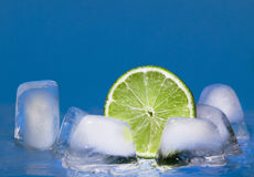 Lime and ice cubes Stock Photo